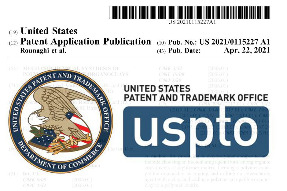 انتشار ثبت اختراع شرکت نانو پارمین خاوران توسط اداره ثبت اختراع و نشان تجاری آمریکا